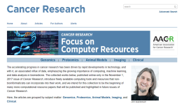 Cancer Research Special Issue - Focus on Computer Resources