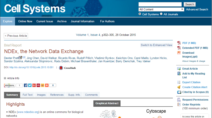 The NDEx paper available online on the Cell Systems journal website