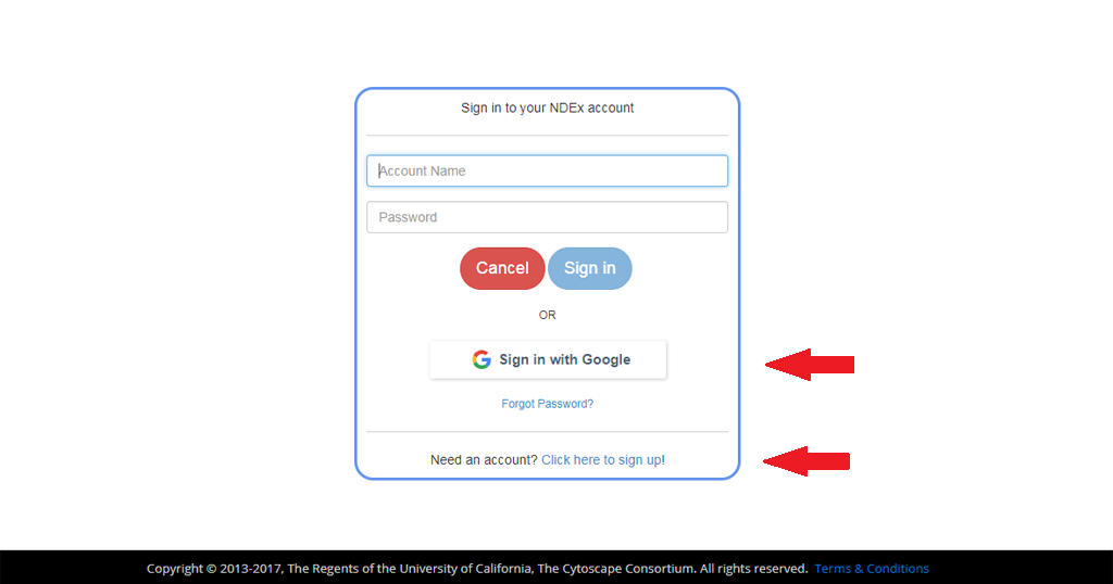 Ndex the network data exchange creating and using an ndex account if you chose to sign up a dialog box will appear all fields must be filled in order to sign up the system does not allow duplicate account names or email stopboris Image collections